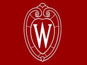 White University of Wisconsin crest on red background
